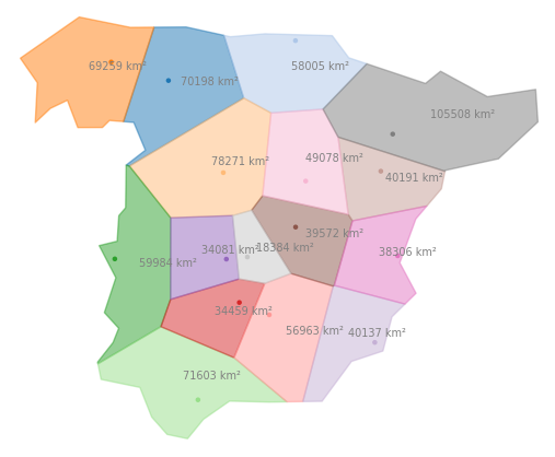 Creating and plotting Voronoi regions for geographic data with