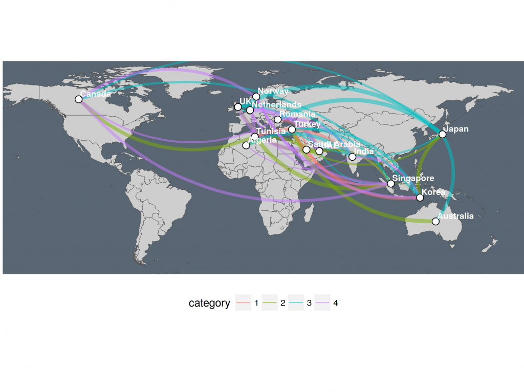 Three ways of visualizing a graph on a map | R-bloggers