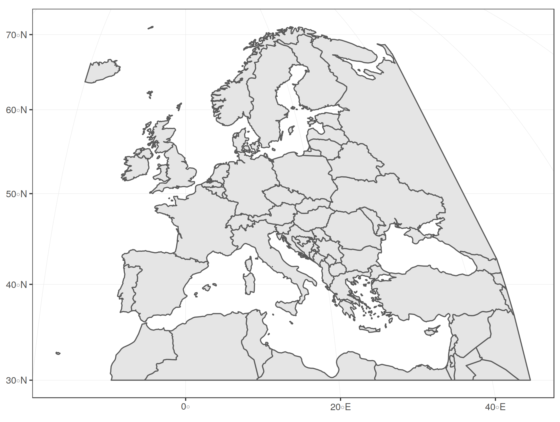 Europe cropped in Mollweide projection